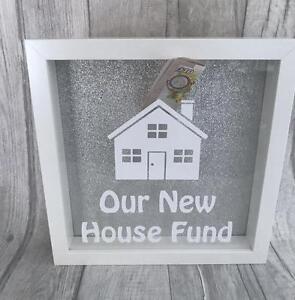 NEW-HOUSE-MONEY-BOX-Our-New-House-White-Box-Frame-Gift-Glitter-Background