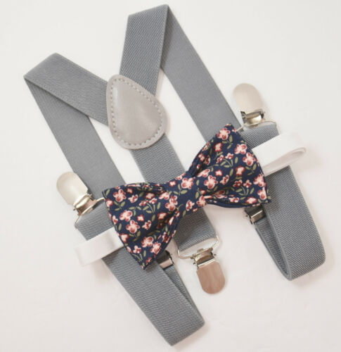 ADULT SET Kids Boys Mens Gray Suspenders /& Navy Blue Floral Bow tie Baby