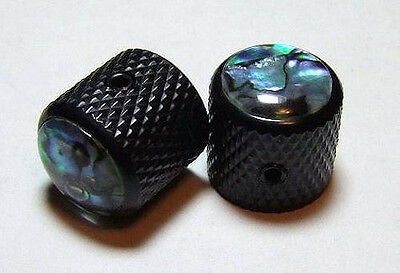Guitar Parts METAL DOME KNOBS Knurled Barrel ABALONE TOP - Set of 2 - BLACK