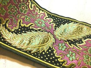 Vintage-Jacquard-Embroidery-1900s-Ribbon-2-1-4-034-Silk-Metallic-1yd-Made-in-France