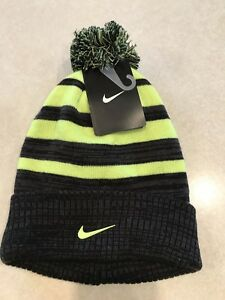 9f7d4024e Details about Nike Knit Winter Beanie Pom Pom Hat & Gloves Set Youth 8/20  NWT Gray Black Neon