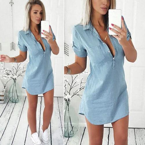 Women Bodycon Slim Jeans Denim Dress Ladies Casual Short Mini Dress Shirt Blouse