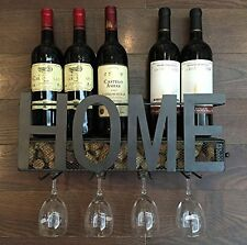 Wall Mounted Metal Wine Rack 4 Long Stem Glass holder Wine Cork Storage Soduku