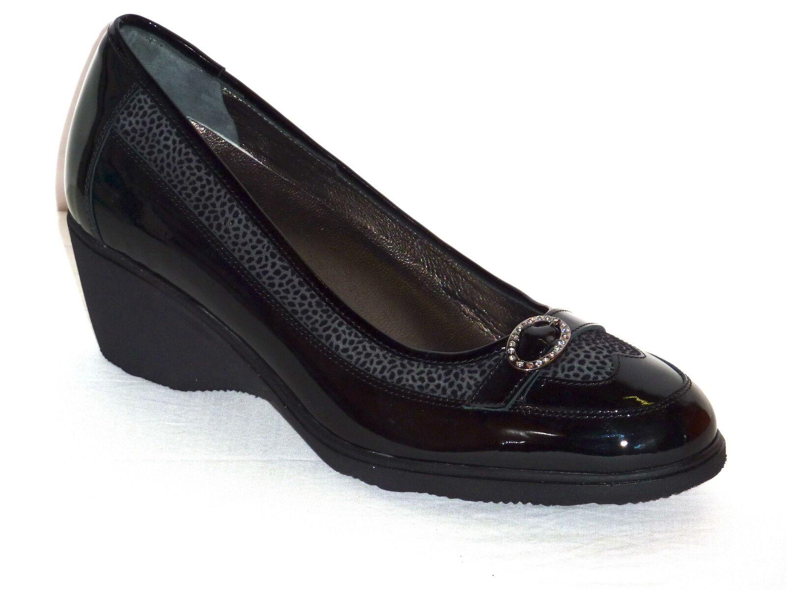 zapatos mujer ELEGANTI ELEGANTI ELEGANTI MORBIDE CONFORT CON ZEPPA E PELLE VERNICE negro   n. 35 720b66