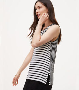 NWT-Ann-Taylor-Loft-Black-and-White-Mixed-Stripe-Blouse-Career-Top-Medium