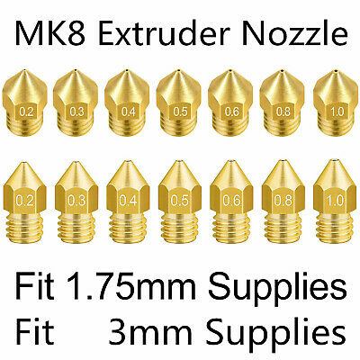 28 Pack 3D Printer Nozzles/0.2mm 0.3mm 0.4mm 0.5mm 0.6mm 0.8mm 1.0mm Print Head with Storage Box for Makerbot Creality CR-10 by Standie