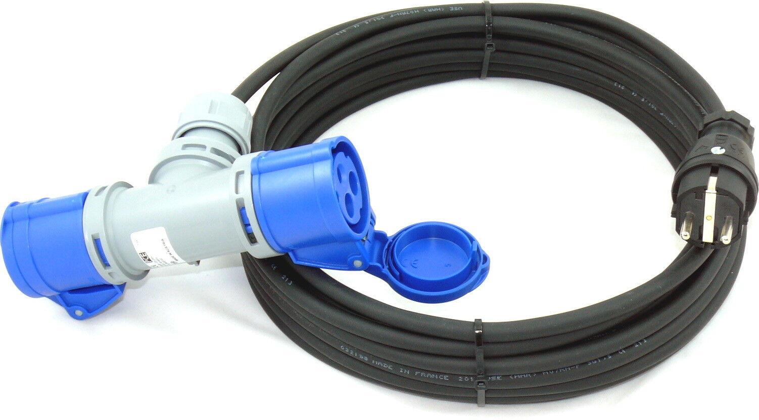 m Schuko Adapter auf CEE 2-Fach H07RN-F 3G1,5 3x1,5 PCE IP44 20m