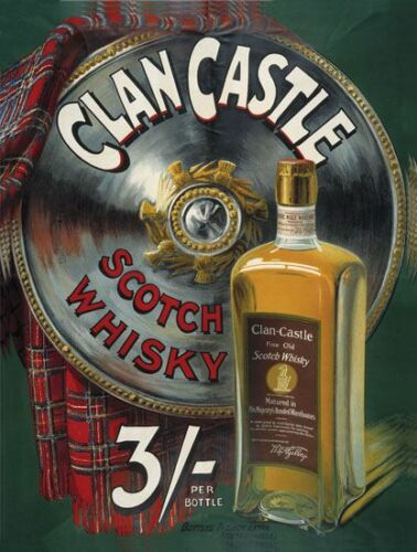 Pub Picture Bar /& Restaurants Clan Castle Scotch Whisky Small Metal Tin Sign