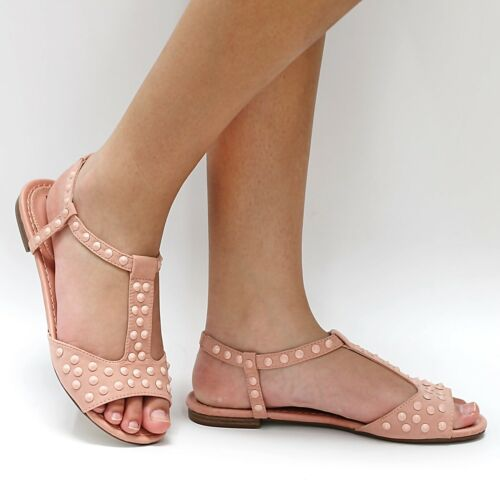 New Women OE6 Black Blush Mint Studded T-Strap Gladiator Flat Sandal sz 6 to 11