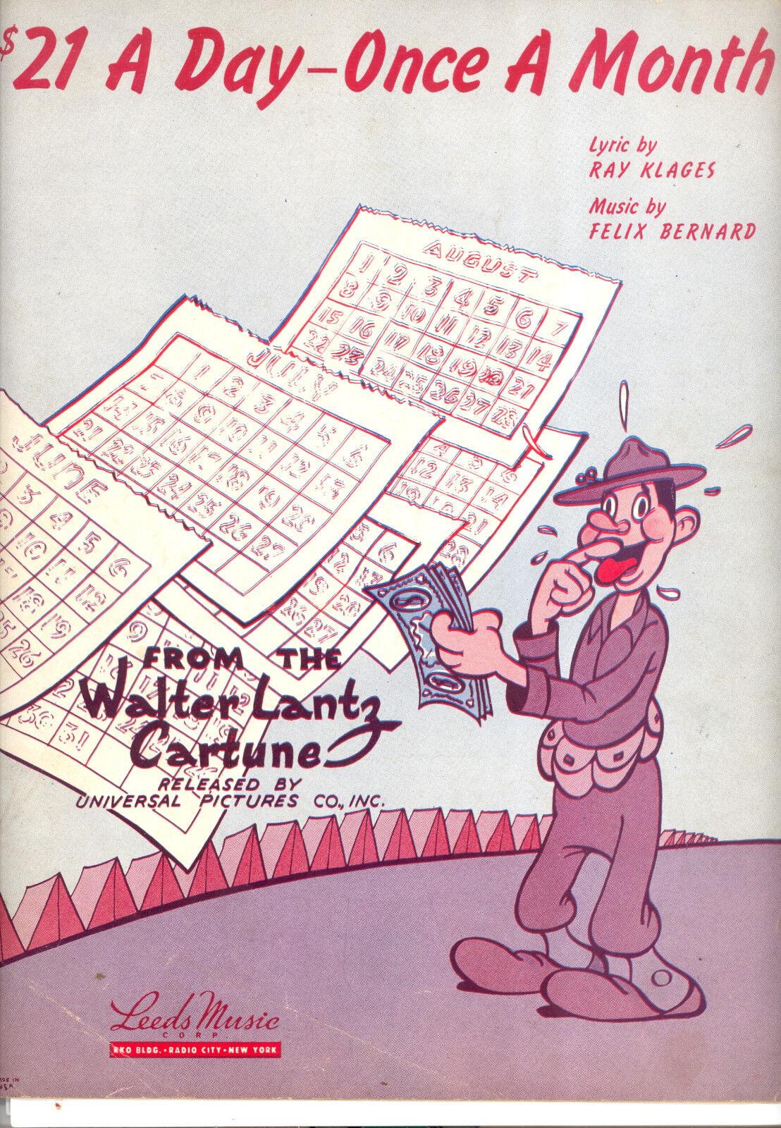 21 un día partituras partituras partituras   21 un día-una vez al mes  Walter Lantz dibujos animados  gran descuento