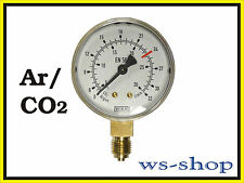 "Manometer 1/4"" für Druckminderer Druckregler Ar/CO2 Argon (0 - 30 l/min)"