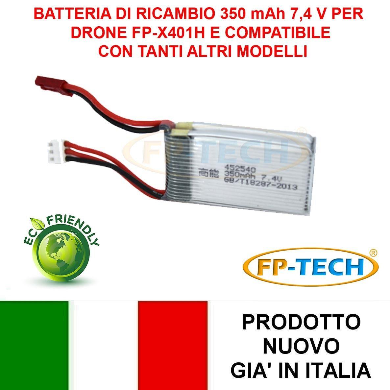 BATTERIA DI RICAMBIO DRONE FP-X401C BATTERIA DRONI POTENZIATA 350mAh 7,4 V