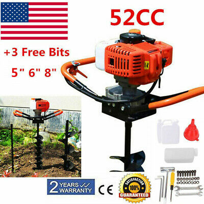 5, 6, 8 EASYG 52cc 2 Stroke Post Hole Digger 1.8KW Petrol Gas Powered Earth Auger with 3 Replacement Drill Bits