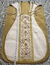 "Antique French Silk Hand Embroidery Vestment Chasuble 26"" By 40"""