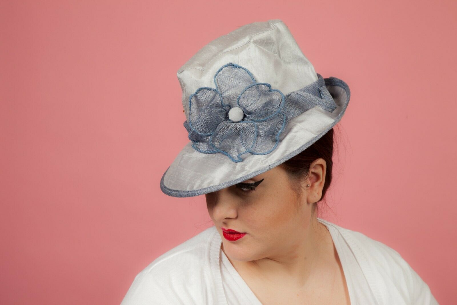 2 tone Blue raw silk formal hat by Mad Hatters Perfect for Wedding Races