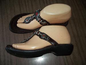 6638543917781 Image is loading NWOB-Red-Leather-Beaded-MINNETONKA-Sandals-Slides-Sizes-