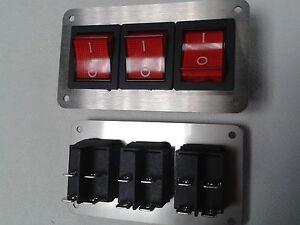Schalterpanel 3x Ein-Aus Schalter max.230V Edelstahlblende matt NEU sehr klein
