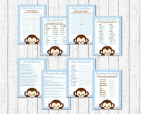Mod Pop Monkey Blue Baby Shower Games Pack - 8 Printable Games