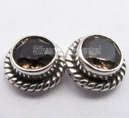 925 Sterling Silver Amazing SMOKY QUARTZ ANTIQUE STYLE Studs Earrings 0.8 CM NEW
