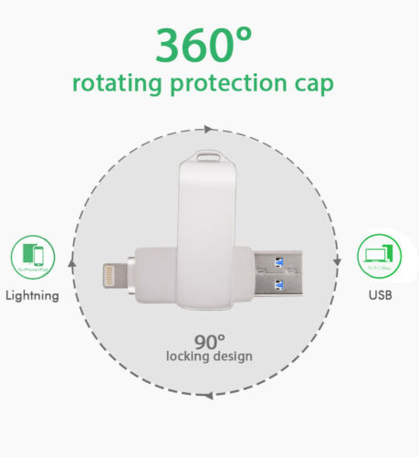 32//64//128G USB 3.0 Thumb Memory Flash Sticks Dual Ports Drives for iPhone PC