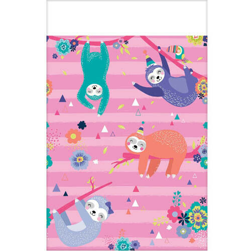 SLOTH BIRTHDAY PAPER TABLE COVER ~ Party Supplies Cloth Decoration Cute Pink