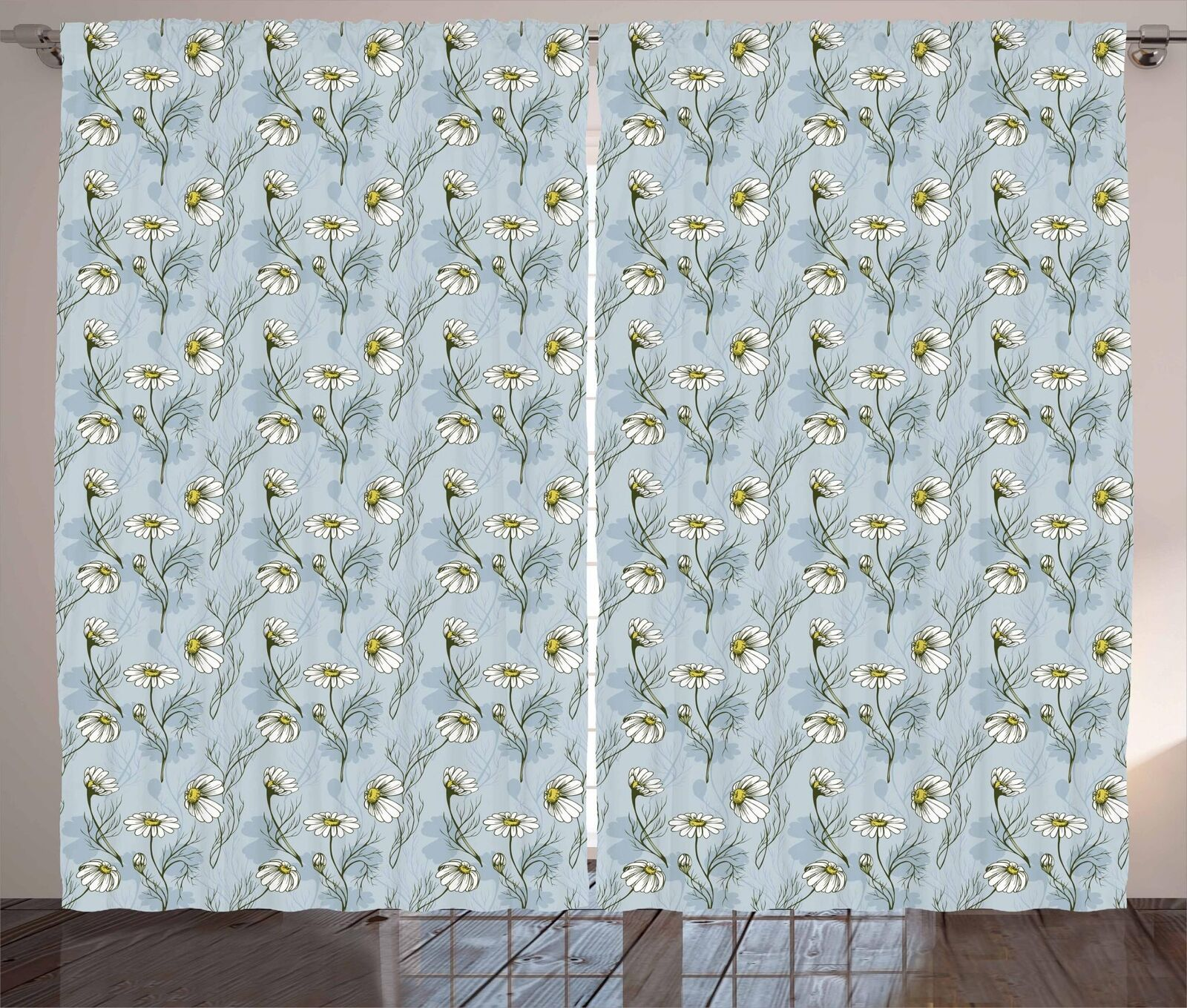 Daisy Cortinas 2 Panel Set para Decoración 5 Tamaños Disponibles Ventana Cortinas