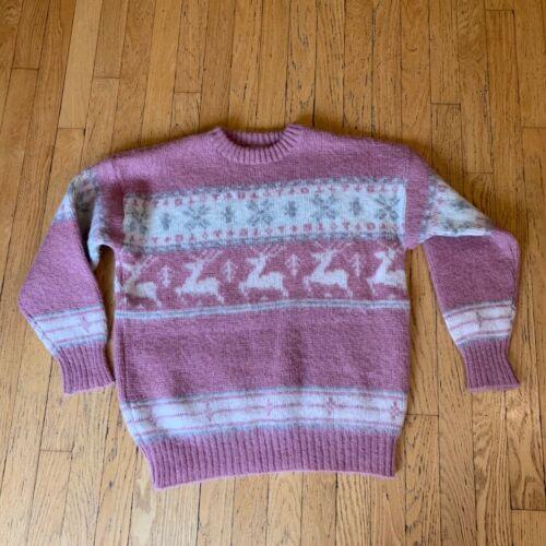 Ice Knit Iceland Vintage 100% Wool Pink Cream Fair