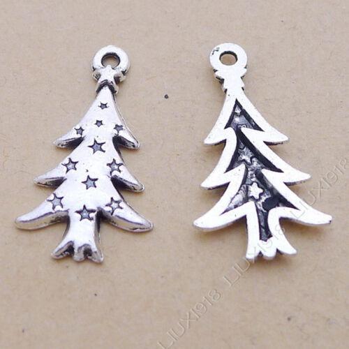 40pc árbol de Navidad plata tibetana pulsera collar Colgante Dijes de encontrar P632