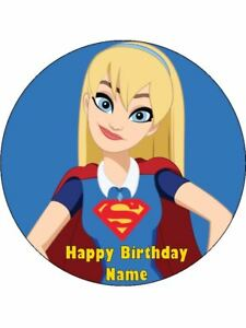 Image Is Loading SUPERGIRL Edible Wafer Paper Birthday Cake Decoration Amp