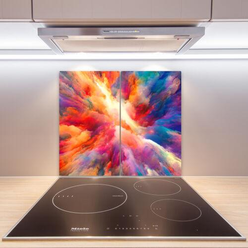 Herdabdeckplatten aus Glas Spritzschutz Farbenexplosion 2x30x52 cm