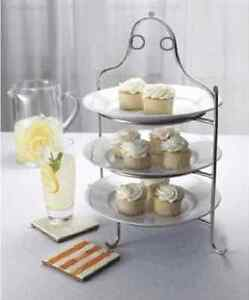 Image is loading 3-Tier-Stainless-Steel-Serving-Plate-Stand-Frame- & 3 Tier Stainless Steel Serving Plate Stand Frame High Tea Desserts ...