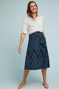 Details about  /Eva Franco Anthropologie Liv Chevron Denim  Midi A-line Silhouette Blue Skirt