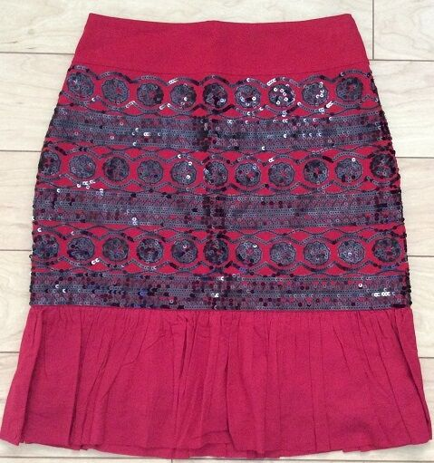 Sequined Suelta Skirt By Moulinette Soeurs Sz 0,2,6,12 Red NW ANTHROPOLOGIE Tag