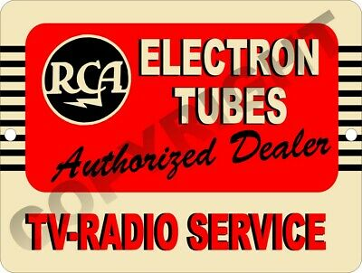RCA Electron Tubes Authorized Dealer TV Radio Service Sales Light Lighted Sign