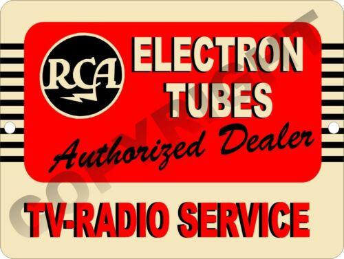 RETRO RCA Electron Tubes Radio TV Authorized Dealer Service Sign 9x12