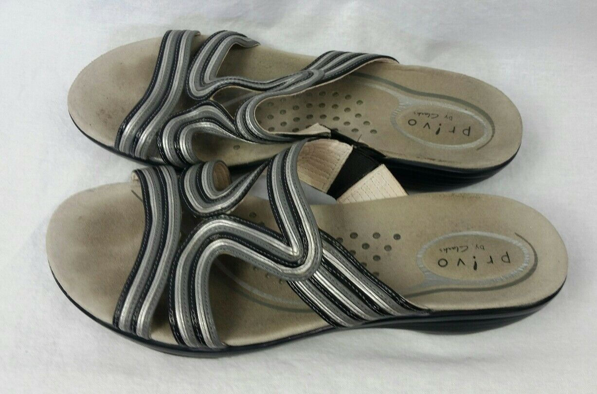Privo By Clarks Womens Slide Black Sandals Shoes Sz 9 Black Slide Gray Low Wedge Heel 5a9580