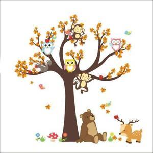 Bear Baby Ro B4P3 Cartoon Wall Stickers Forest Tree Animal Owl Monkey Fox Decal