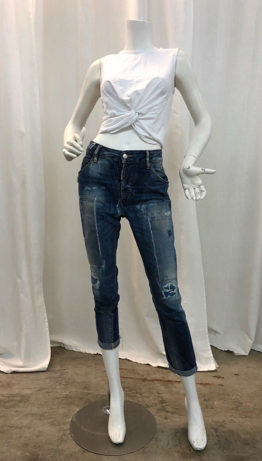 Dsquared2 Light Patch Of bluee Boyfriend Jeans Sz 40
