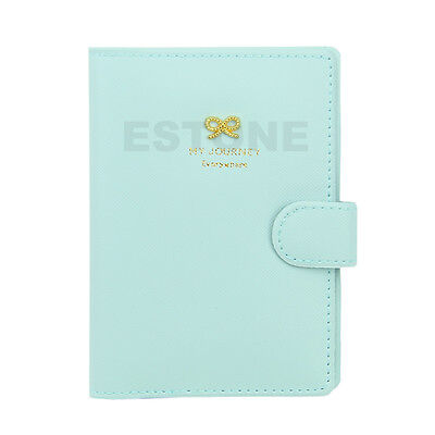 Travel Fashion Bowknot Passport Protector Card Cover PU Leather Holder Wallet