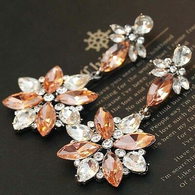 2015 New design women wedding bib statement  mixed crystal long Earrings e305