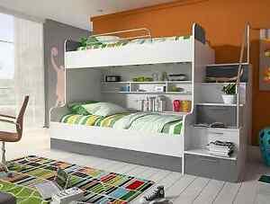 Etagenbett Grau : Etagenbett doppelstockbett hochglanz weiss grau kinderbett