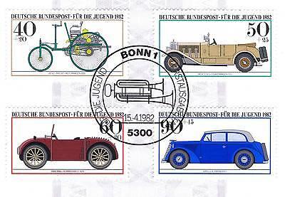 Brd 1982: Vier Historische Kraftfahrzeuge! Jugendmarken Nr. 1123-1126! 1a! 154