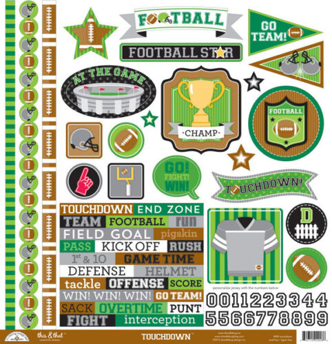 Doodlebug Design Touchdown Football Cardstock Stickers 12x12 this /& that 4908