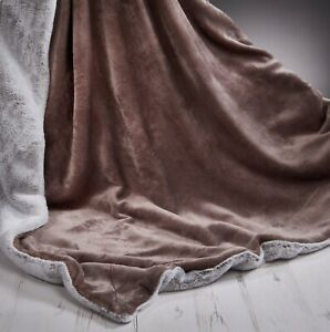 Rabbit-Faux-Fur-Sofa-Bed-Luxury-Throw-Over-Warm-Blanket-150-x-200-cm-Mink