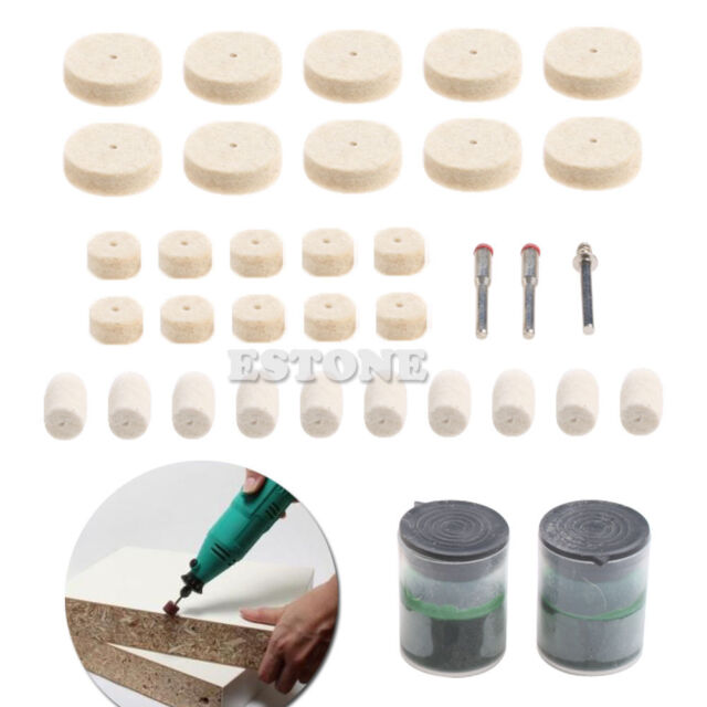 "35Pcs 1/8"" Soft Felt Polishing Buffing Burr Wheel Kit For Rotary Tools"