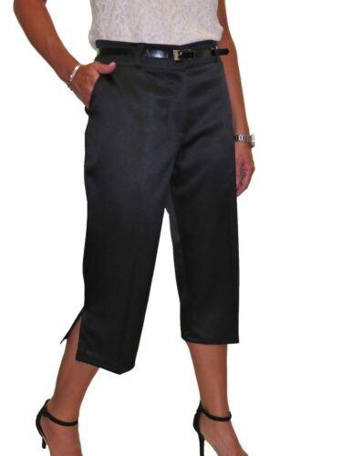 Señoras Pantalones Mate Satinado Noche cultivo inteligente ajuste fácil con cinturón 8-22