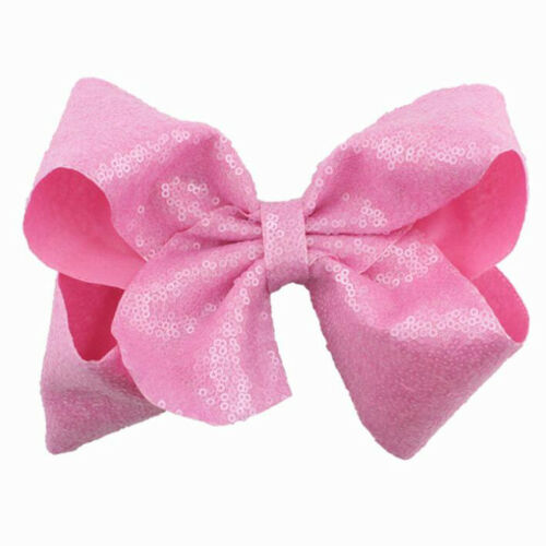 8 Inch Large Sequin Boutique Girls Kids Clips Headwear Bowknot Hair Accessories