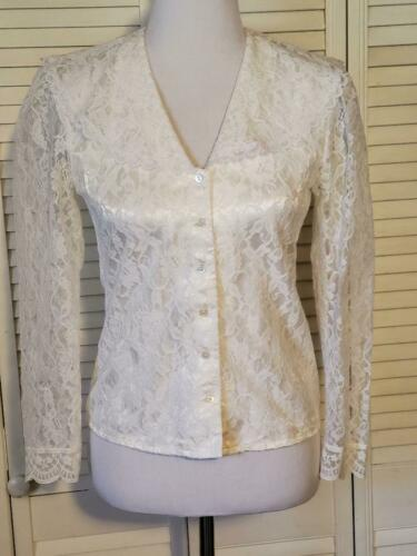 80s Vintage WHITE VICTORIAN BLOUSE by Spotlight Lace Peter Pan Collar Short Sleeves Carved Button Up Shirt Shoulder Pads Cottage Chic Top