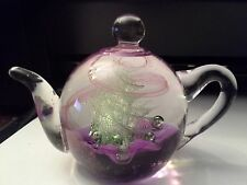 TEA POT SHAPED GLASS PAPER WEIGHT BY EDINBURGH ~ PURPLE/LAVENDER/GREEN SWIRLS