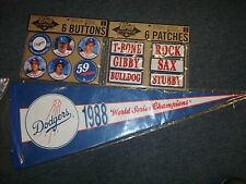 LA Dodgers 1988 World series Champions 6-Pins, 6-patches, & pennant lot C@@L